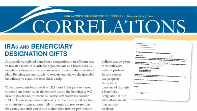 CORRELATIONS QUARTERLY NEWSLETTER